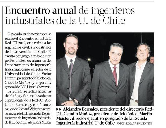 Encuentro Anual Ingenieros Universidad de Chile en La Tercera 2012
